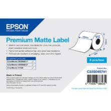 Epson prémiové matné papierové, kontinuálne etikety, 102 mm * 60 metrové (objednávacie množstvo 8 kotúče/balík)