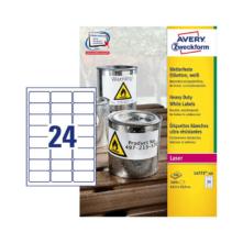 63,5*33,9 mm-es Avery Zweckform A4 íves etikett címke, fehér színű (100 ív/doboz)