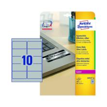 96*50,8 mm-ové Avery Zweckform A4 hárkové print etikety, strieborná farba (20 hárkov/balenie)