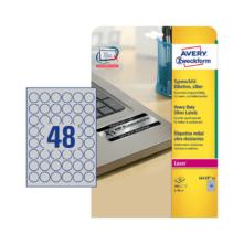 30 mm-ové Avery Zweckform A4 hárkové print etikety, strieborná farba (20 hárkov/balenie)