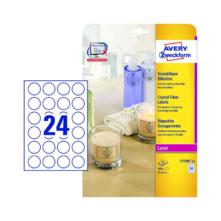 40 mm-ové Avery Zweckform A4 hárkové print etikety, priehladná (číra), (25 hárkov/balenie)