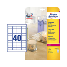 45,7*25,4 mm-ové Avery Zweckform A4 hárkové print etikety, priehladná (číra), (25 hárkov/balenie)
