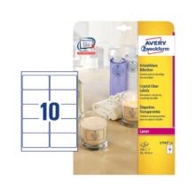 96*50,8 mm-ové Avery Zweckform A4 hárkové print etikety, priehladná (číra), (25 hárkov/balenie)