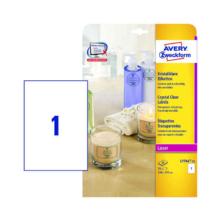 210*297 mm-ové Avery Zweckform A4 hárkové print etikety, priehladná (číra), (25 hárkov/balenie)