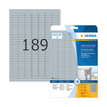 25,4*10 mm-ové Herma A4 hárkové print etikety, strieborná farba (25 hárkov/balenie)