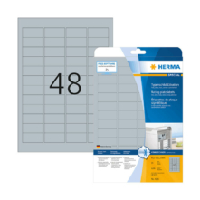 45,7*21,2 mm-ové Herma A4 hárkové print etikety, strieborná farba (25 hárkov/balenie)