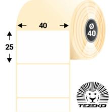 40 * 25 mm-es, öntapadós műanyag etikett címke (3000 címke/tekercs)