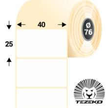 40 * 25 mm, samolepiace papierové etikety (4000 etikiet/kotúč)