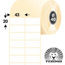 43 * 20 mm-ové, samolepiace papierové etikety (6000 etikiet/kotúč)