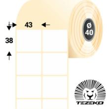 43 * 38 mm-ové, samolepiace papierové etikety (3600 etikiet/kotúč)