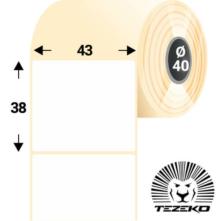 43 * 38 mm, samolepiace papierové etikety (1000 etikiet/kotúč)