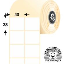 43 * 38 mm, samolepiace papierové etikety (8000 etikiet/kotúč)
