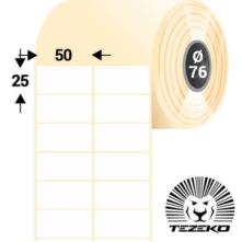 50 * 25 mm-ové, samolepiace papierové etikety (12500 etikiet/kotúč)