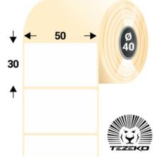 50 * 30 mm-ové, samolepiace papierové etikety (2500 etikiet/kotúč)