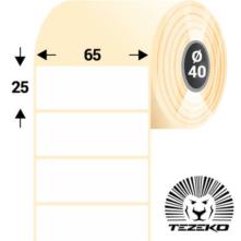 65 * 25 mm-ové, samolepiace papierové etikety (2500 etikiet/kotúč)