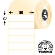 80 * 20 mm-ové, samolepiace papierové etikety (3200 etikiet/kotúč)