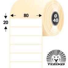80 * 20 mm-ové, samolepiace papierové etikety (3000 etikiet/kotúč)