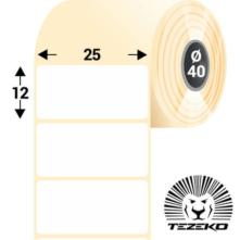 25 * 12 mm, samolepiace termo etikety (2600 etikiet/kotúč)