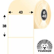 43 * 38 mm-es, öntapadós direkt termál etikett címke (1000 címke/tekercs)
