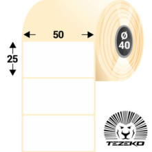 50 * 25 mm, samolepiace termo etikety (2500 etikiet/kotúč)