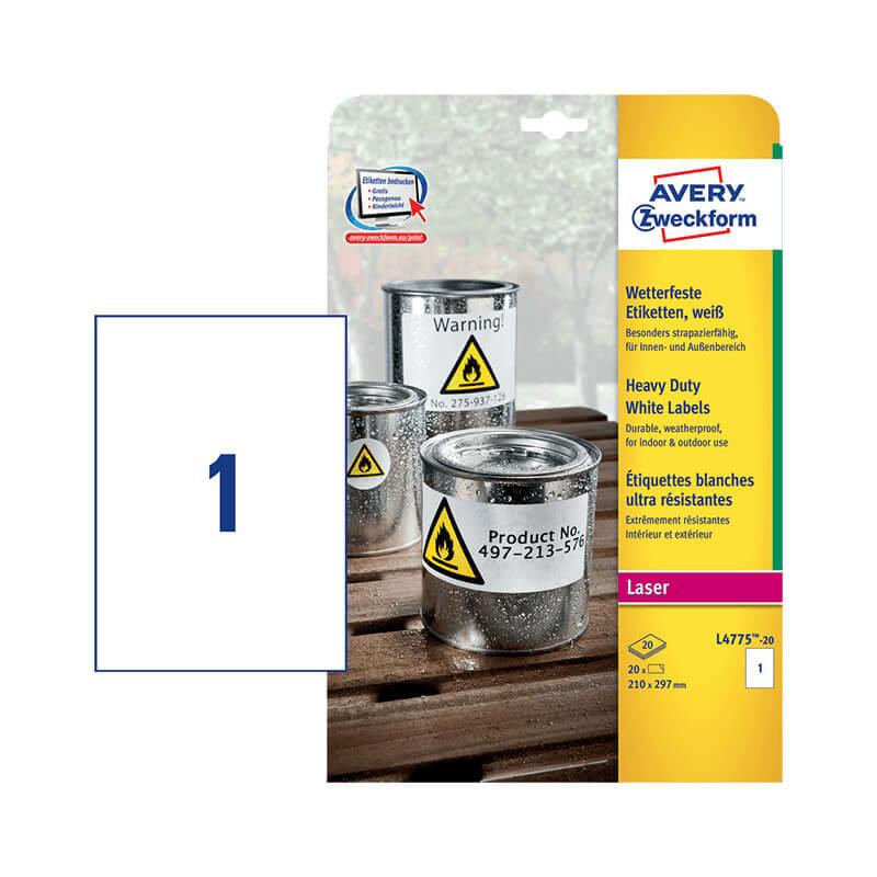210*297 mm-es Avery Zweckform A4 íves etikett címke, fehér színű (20 ív/doboz)
