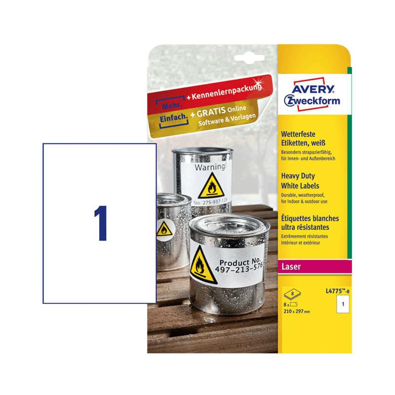 210*297 mm-es Avery Zweckform A4 íves etikett címke, fehér színű (8 ív/doboz)