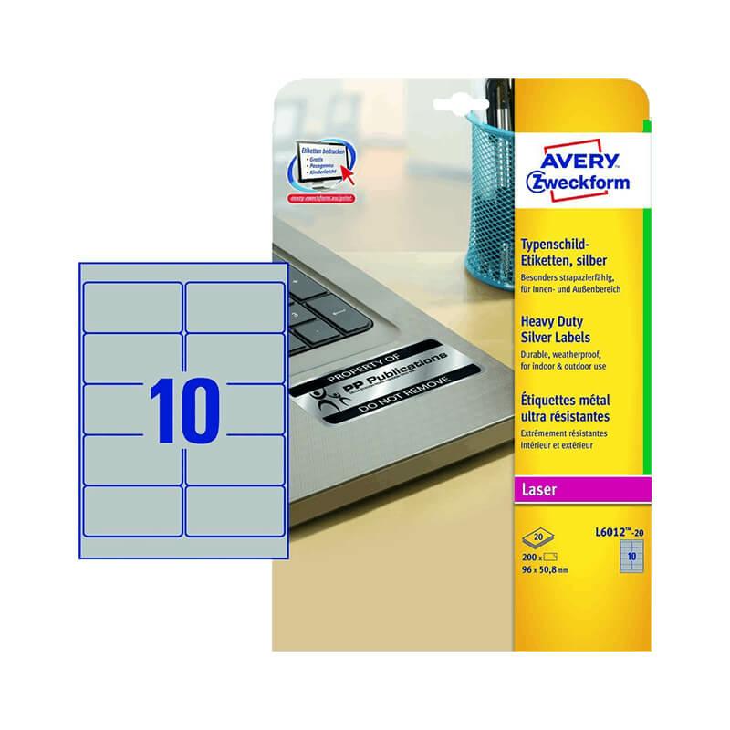 96*50,8 mm-es Avery Zweckform A4 íves etikett címke, ezüst színű (20 ív/doboz)