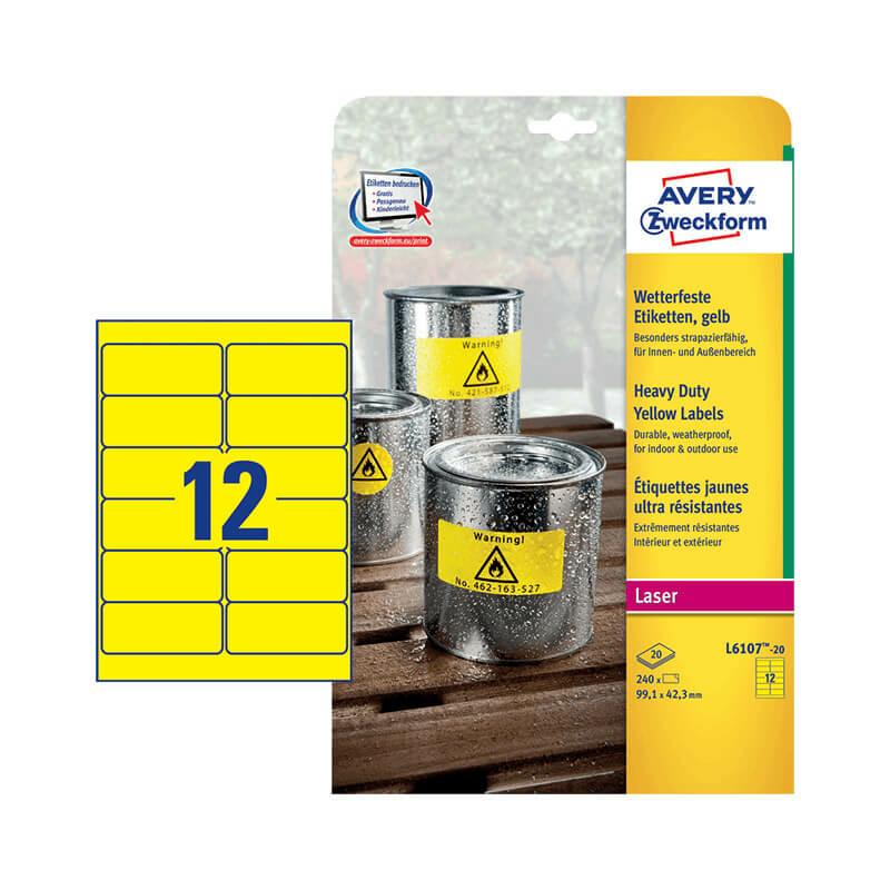 99,1*42,3 mm-es Avery Zweckform A4 íves etikett címke, sárga színű (20 ív/doboz)