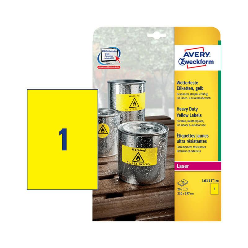 210*297 mm-es Avery Zweckform A4 íves etikett címke, sárga színű (20 ív/doboz)
