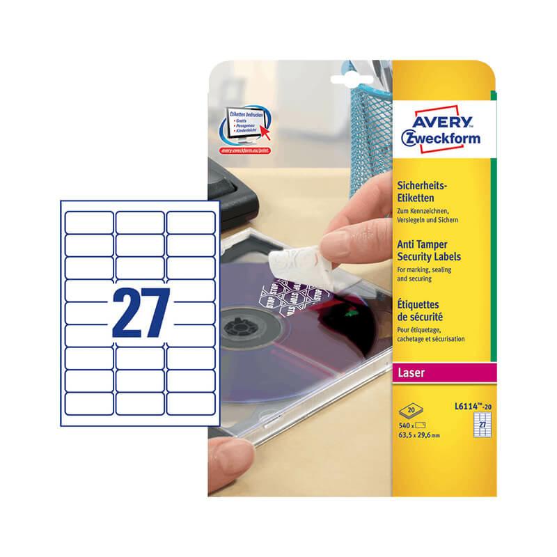 63,5*29,6 mm-es Avery Zweckform A4 íves etikett címke, fehér színű (20 ív/doboz)