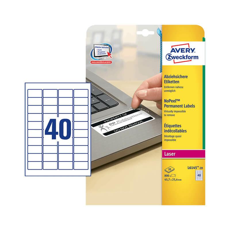 45,7*25,4 mm-es Avery Zweckform A4 íves etikett címke, fehér színű (20 ív/doboz)