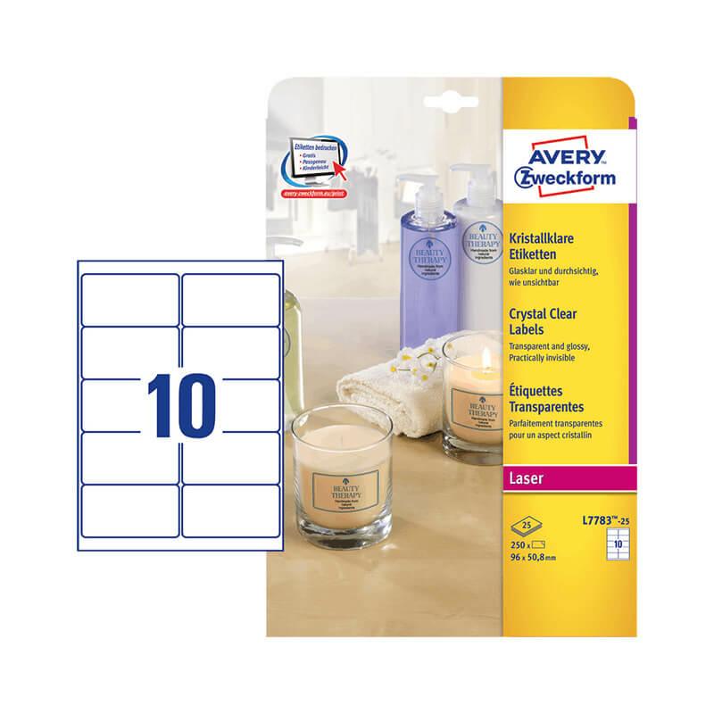 96*50,8 mm-es Avery Zweckform A4 íves etikett címke, átlátszó (víztiszta) színű (25 ív/doboz)
