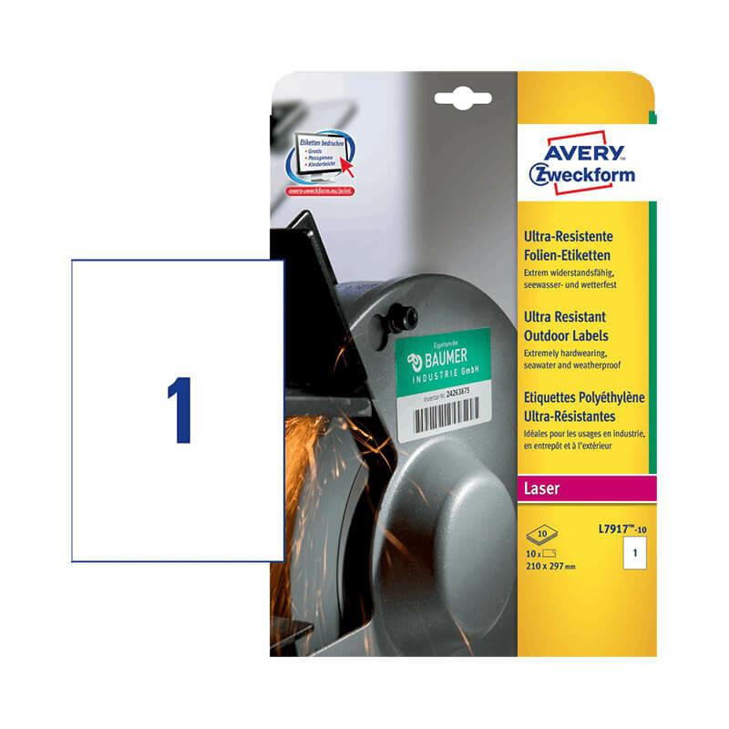 210*297 mm-es Avery Zweckform A4 íves etikett címke, fehér színű (10 ív/doboz)