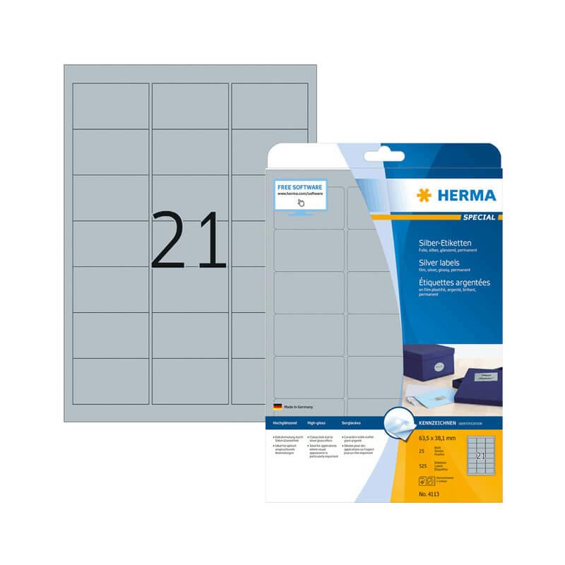 63,5*38,1 mm-es Herma A4 íves etikett címke, ezüst színű (25 ív/doboz)