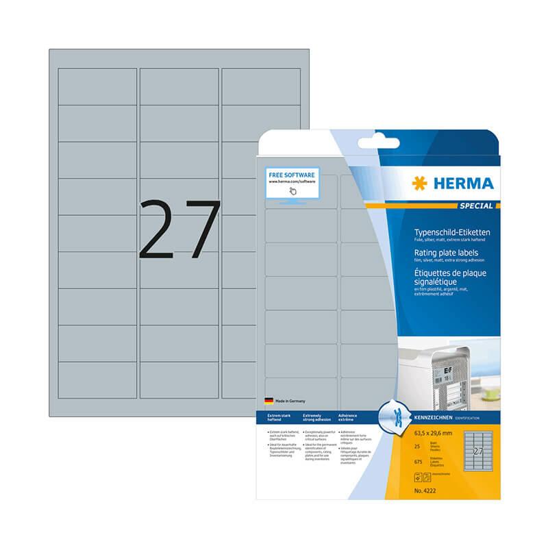 63,5*29,6 mm-es Herma A4 íves etikett címke, ezüst színű (25 ív/doboz)