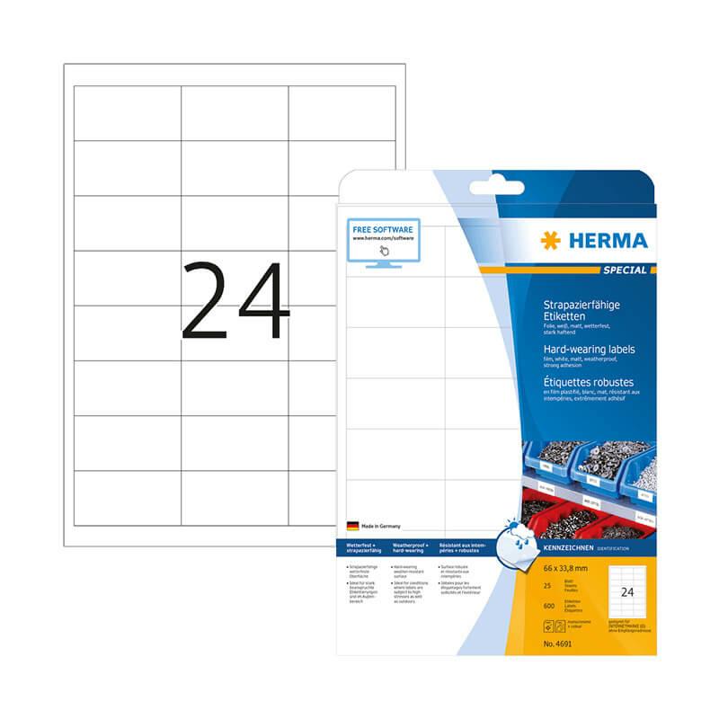 66*33,8 mm-es Herma A4 íves etikett címke, fehér színű (25 ív/doboz)