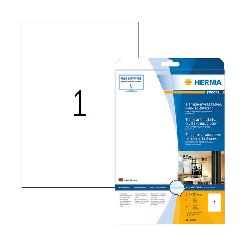 210*297 mm-es Herma A4 íves etikett címke, átlátszó (víztiszta) színű (25 ív/doboz)