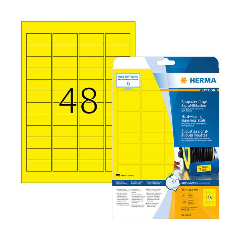 45,7*21,2 mm-es Herma A4 íves etikett címke, sárga színű (25 ív/doboz)