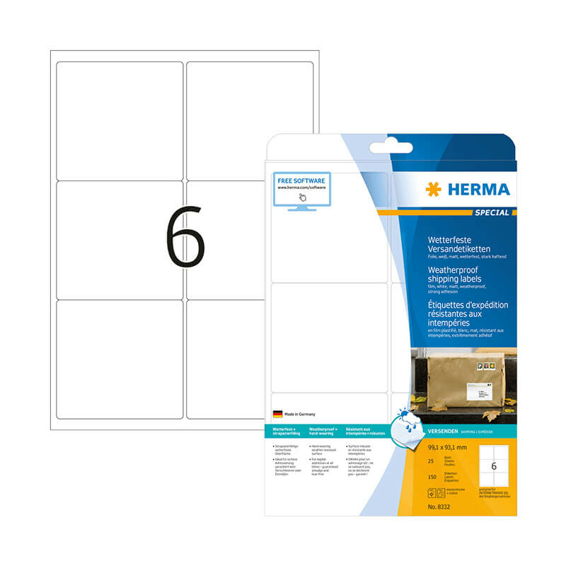 99,1*93,1 mm-es Herma A4 íves etikett címke, fehér színű (25 ív/doboz)