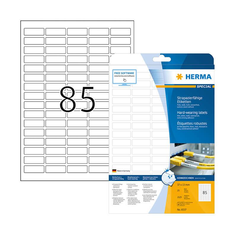 37*13 mm-es Herma A4 íves etikett címke, fehér színű (25 ív/doboz)