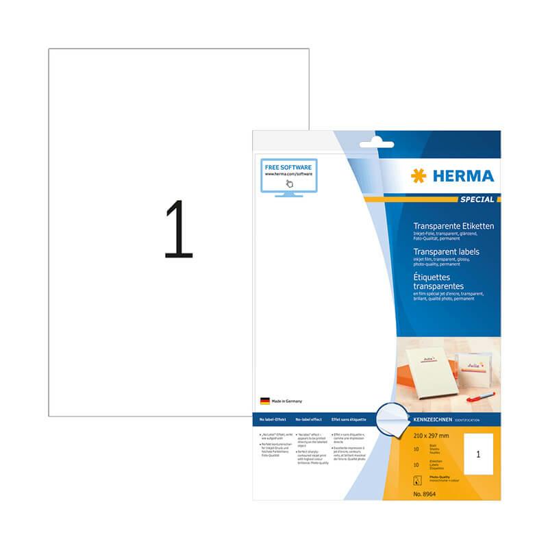 210*297 mm-es Herma A4 íves etikett címke, átlátszó (víztiszta) színű (10 ív/doboz)