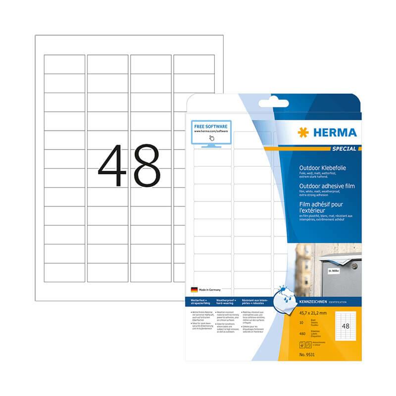 45,7*21,2 mm-es Herma A4 íves etikett címke, fehér színű (10 ív/doboz)
