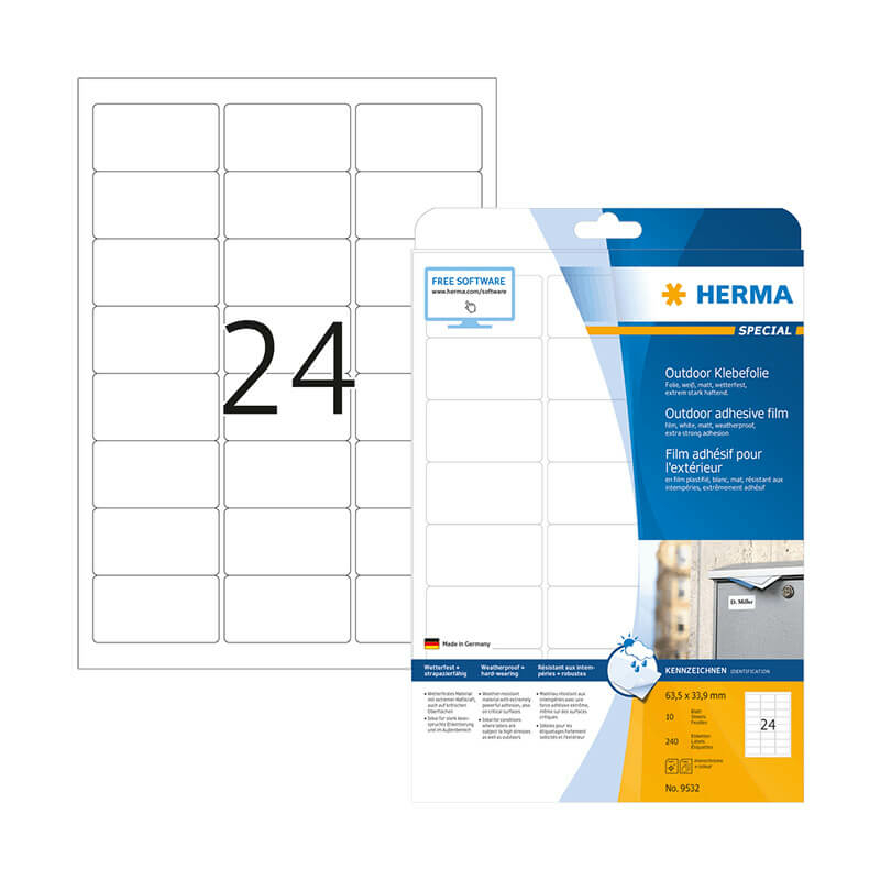 63,5*33,9 mm-es Herma A4 íves etikett címke, fehér színű (10 ív/doboz)