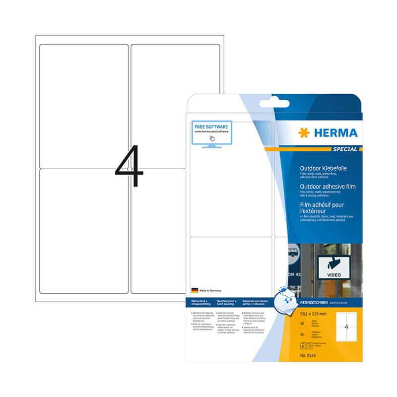 99,1*139 mm-es Herma A4 íves etikett címke, fehér színű (10 ív/doboz)