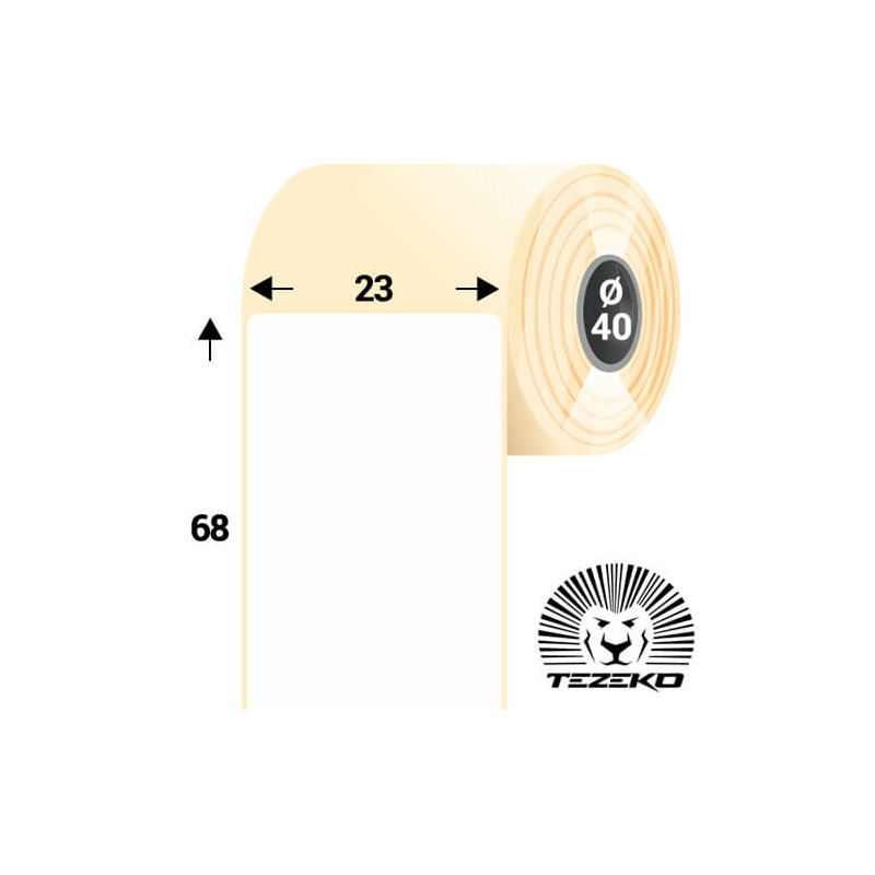 23 * 68 mm-es, öntapadós műanyag etikett címke (1000 címke/tekercs)