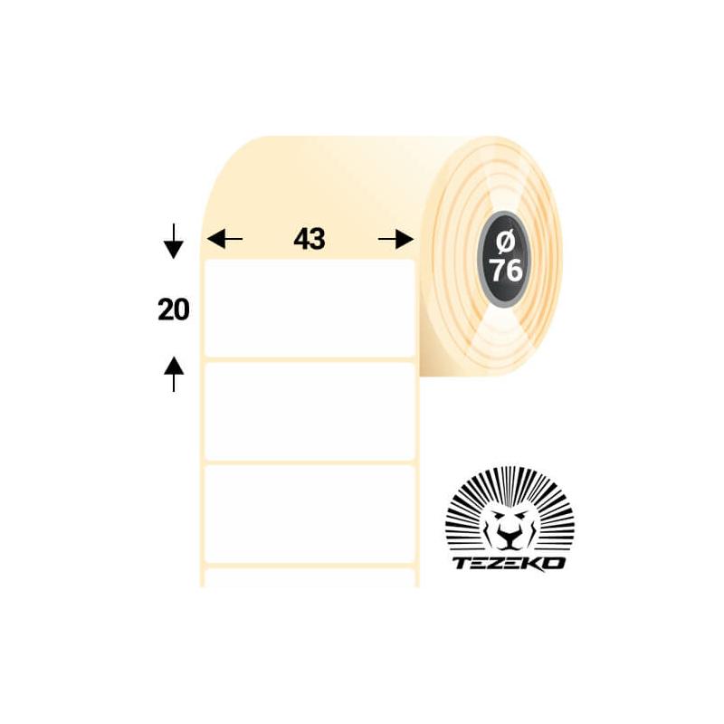 43 * 20 mm-es, öntapadós műanyag etikett címke (5000 címke/tekercs)
