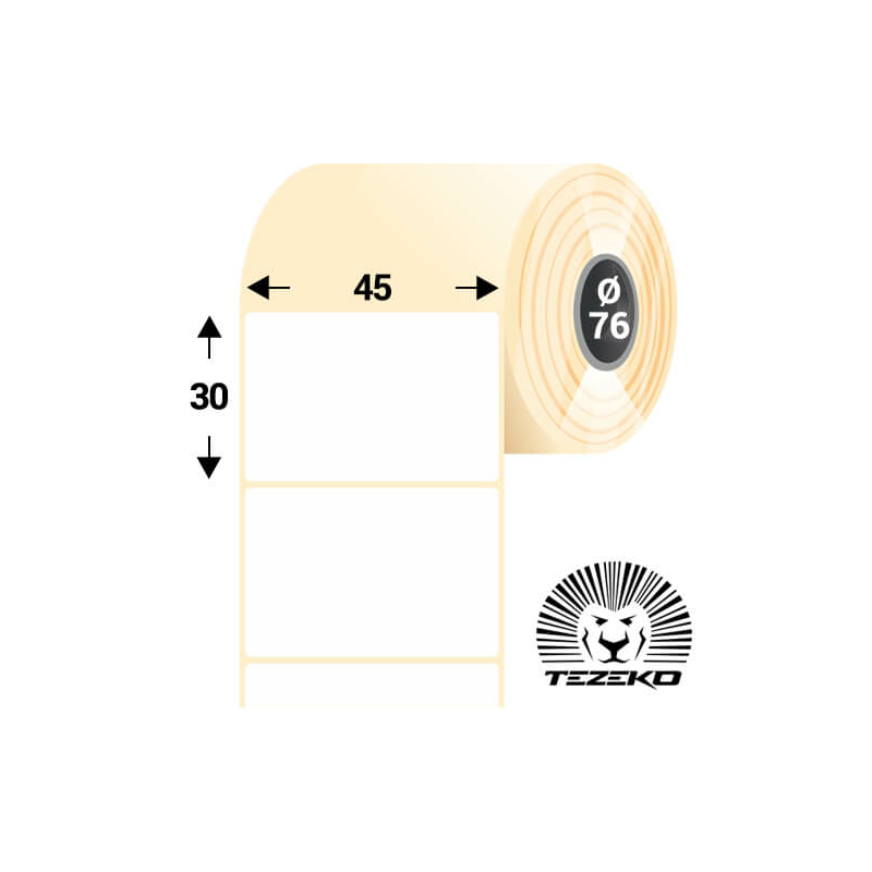 45 * 30 mm-es, öntapadós műanyag etikett címke (5000 címke/tekercs)