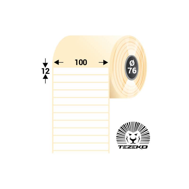 100 * 12 mm-es, öntapadós műanyag etikett címke (2500 címke/tekercs)