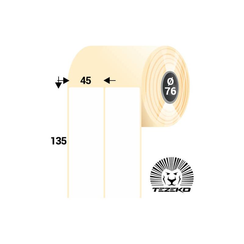 45 * 135 mm-es, öntapadós papír etikett címke (2800 címke/tekercs)